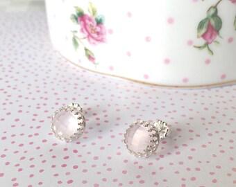 Rose Quartz Jewelry | Pink Quartz Studs | Rose Cut Quartz | Natural Rose Quartz | Rose Quartz Gemstone | Blush Pink Earrings | Bridal Studs