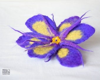 Hand felted iris flower, Spring fashion, Bridesmaid gift, Wet felted flower