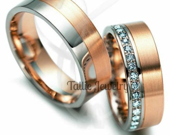 His & Hers Wedding Rings, Matching Wedding Bands,10K Gold Diamonds Two Tone Wedding Rings, Matching Wedding Rings Set,Couple Wedding Rings