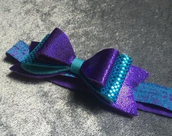 Teal and purple baby headband