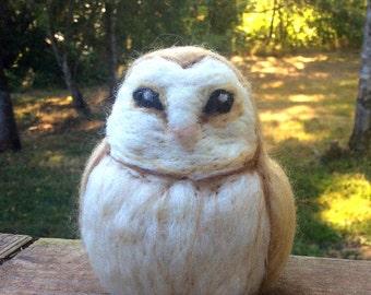 Needle Felted Barn Owl Decoration or Pin Cushion