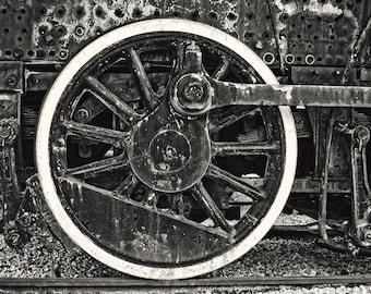 Train Fine Art Photography, Train Wheel, Man Cave Decor Railfan, Industrial Chic, Boy's Room, Nursery Decor, Garage Decor, Gift for him