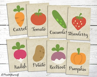 Vegetable Signs // Instant Download Printable Vegetable Garden Signs // Seed Signs // Planting Accessories // Gardening // Planting