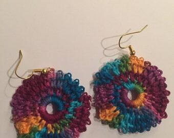 Colorful rainbow crocheted earrings