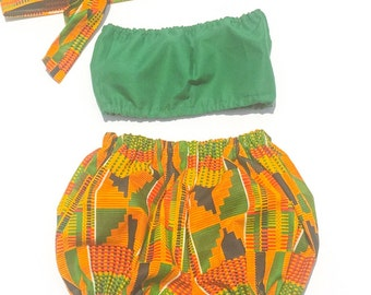 African Clothing. Baby african clothing.  African bloomers outfit with matching top. 3 Piece african outfit.