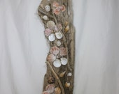Large Driftwood Sculpture - Ocean Themed Wall Art - Beautiful Driftwood and Shell Art Sculpture - One-of-a-Kind!