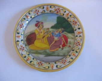 Alabaster Medallion - Kama Sutra - Indian Couple -Hand Painted Love Scene