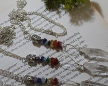 Chakra and Quartz silver plated necklace with Buddha charm ~ Choose from long or short chain