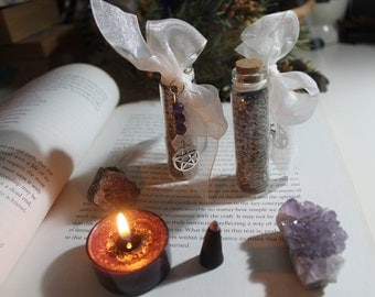 Calming and protecting Lavender and Amethyst spell vials ~ Ritual ~ Altar ~ Wiccan ~ Pagan