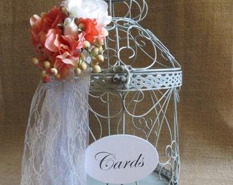 Pick Your Flowers - Large Light Blue Distressed Wedding Birdcage Card Holder, Wedding Card Box, Money Holder, Cash Box, Gift Card Holder