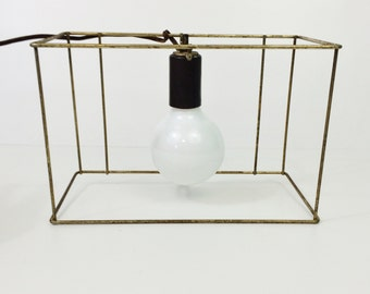 Vintage Mid Century Metal Wire Rectangle Pendant Light Lamp Shade Frame