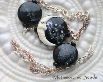 Man in the Moon - Glass Bead Necklace - Lampwork Beads