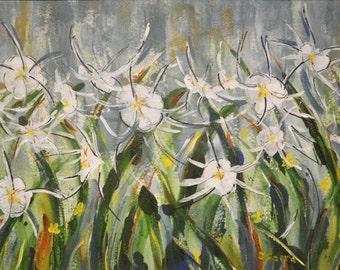 White Wild Flowers - orginal mixed media painting