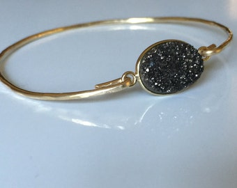Black Bangle / Gold Filled Druzy Bracelet / Gold Bangle/ Black Drusy  Bangle / Midnight Black and Gold Holiday /.