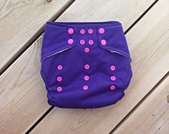 25% off Cloth Diaper Cover {Royal Purple, Hot Pink, Girl, One Size, Girl, Girly, PUL, Snap, Wipeable, AI2, Baby Shower Present, Gift, WAHM}