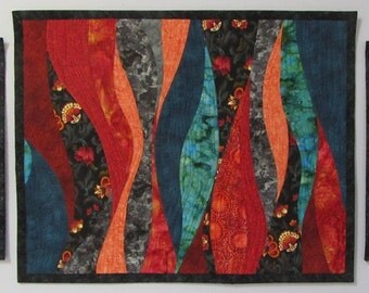 Art Quilts Triptych Old English Garden 2, Wall Quilt, Quilted Wall Hanging, Abstract Art