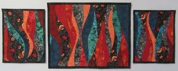 Art Quilts Triptych Old English Garden 2, Quilted Wall Hanging