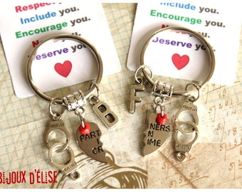 Sale - Set of 2 Personalized Parteners In Crime BFF Keychains His and Hers Couple Keychain Friendship Keychain