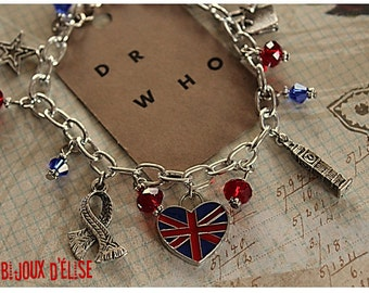 Police Box Tardis Inspired from TV Series Bracelet Charms Antique Silver Enamel and Beads