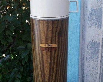 On Sale 1970s Quart Size Brown Faux Wood Thermos or Water Bottle for Food Storage and Serving