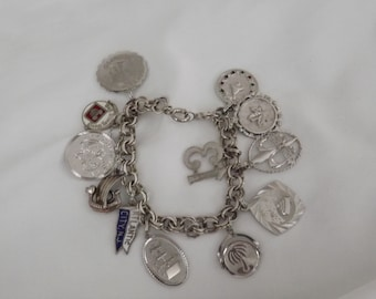 1960s Vintage Sterling Silver Charm Bracelet with 12 Assorted Sterling Charms-On Sale Now!