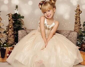 Glitter & Gold Gown: Ivory Gold Long Girls Dress; Baby Toddler Girl Holiday Dress, Gold Sequin; Tulle Glitter Skirt; Christmas Dress