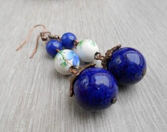 Earrings Egyptian blue ball - copper - ceramics - agate