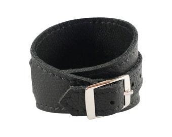 Crop Cuff in Nightrider Black leather