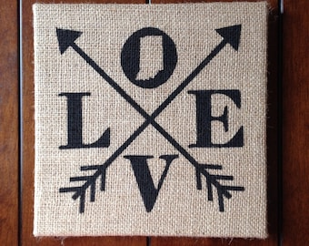 Love - Indiana State - 10in x 10in - Burlap Canvas Art