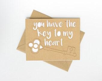 Pop-Out Lasercut Card - Key to my heart