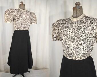 Vintage 1950s Blouse - White Princess Sleeve 50s Blouse Large