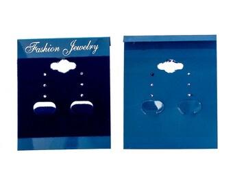 "Plastic Velvet Jewelry Earring Display Card Blue 62.0mm(2 4/8"") x 50mm(2""), 20 PCs"