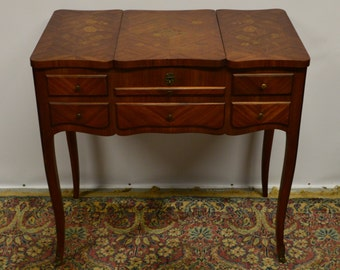 Antique French Vanity Dressing Table Desk Poudreuse Louis XV Style