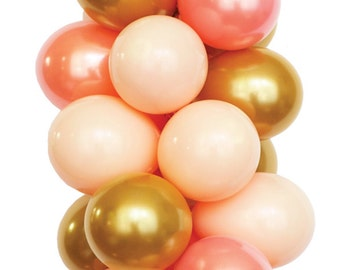 PEACHY BEACH - Pink, Peach and Gold Latex Balloons (30 balloons per package)
