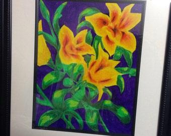 Tiger Lilies, 16x20 framed