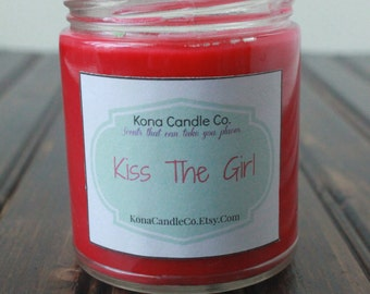 Princess decor - scented soy candle - book candle - movie candle - song candle - hand poured candle - Valentine's Day - Kiss the Girl 9oz