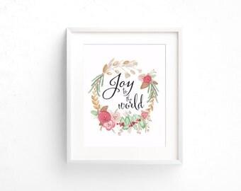 Joy to the World Christmas art |Christmas print| Fine art watercolor prints |Floral watercolor |Flower art |Rose watercolor Art