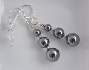 Sterling silver & hematite drop earrings UK seller dangle earrings