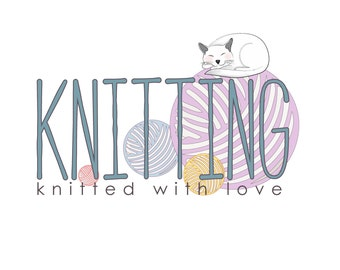 DIGITAL Custom Logo design, knitting logo design, sewing Logo and watermark,colorful logo, cat logo design, yarn logo design, knitting logo