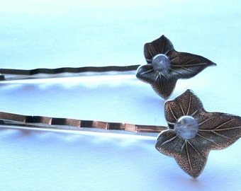 RAINBOW MOONSTONE hair bobby pins with antique silver IVY leaves - woodland - fantasy - elvish