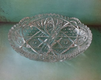 Vintage Clear Pressed Glass Divided Relish Dish