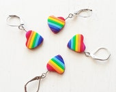 Rainbow Heart Stitch Markers. Universal. Knitting and crochet. Ready to ship