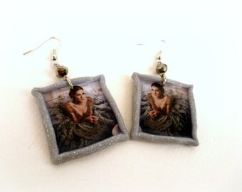 Carrie Bradshaw in Paris - Carrie in Versace gown -  polymer clay earrings
