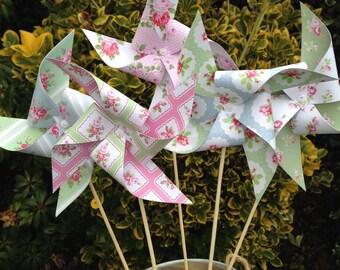 5 paper pinwheels kit - vintage tea party theme
