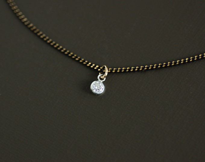 Tiny Crystal Choker Style Necklace on Brass Chain