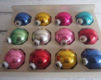 Box of Twelve Shiny Brite Christmas Ornaments Various Colored Vintage Shiny Brites