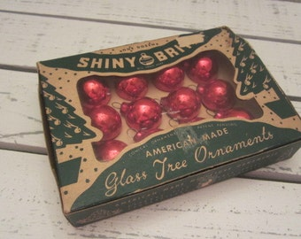 Box of Vintage Red Shiny Brite Glass Feather Tree Ornaments Vintage Miniature Red Glass Ornaments