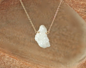 Angel aura necklace - druzy necklace - raw crystal necklace - rainbow crystal necklace - a raw aura quartz on a 14k gold vermeil chain