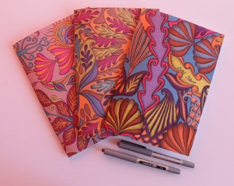 Colourful Notebooks, Lined Paper Notebooks, A5 Printed Notepads, Tropical Pattern Stationery, Colourful Notepads, Set of 3,