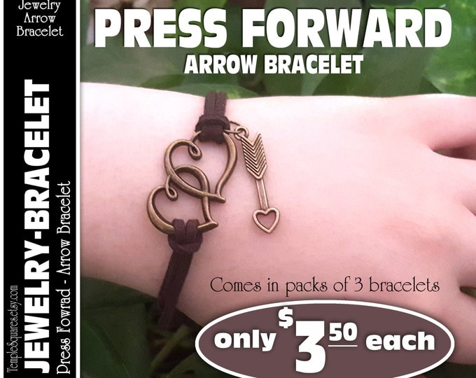Pack of 3 - Press Forward 2016 YW Theme Hearts and Arrows Bracelets. Bronze Charms. Girls Camp, Kits available LDS Craft Supplies and Gifts